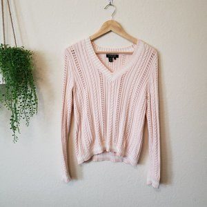 Ralph Lauren Petite V-neck Open Knit Sweater